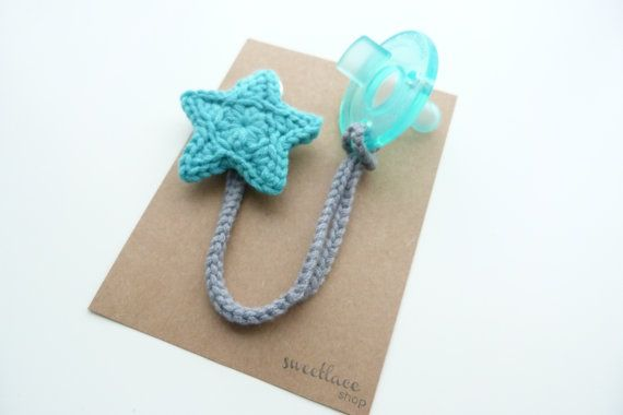 Any ColorPacifier ClipCrochet Star pacifier by SweetlaceShop