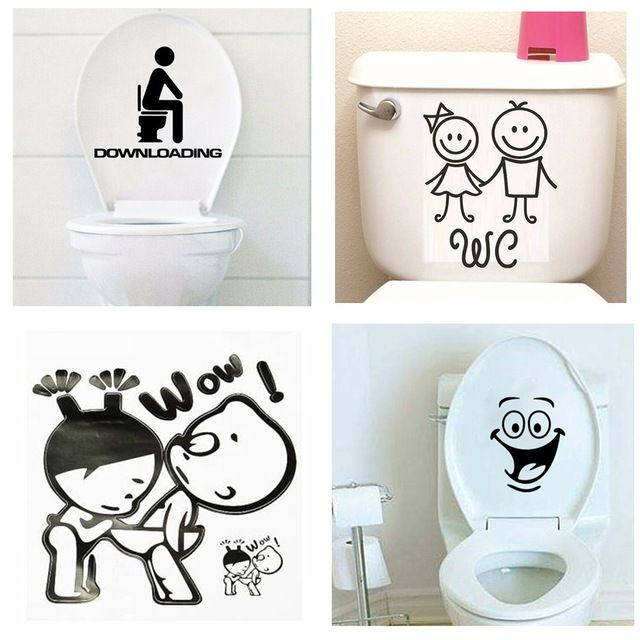 Cartoon Boy and Girl Toilet Stickers Wallpapers Art Mural Waterproof For Toilet