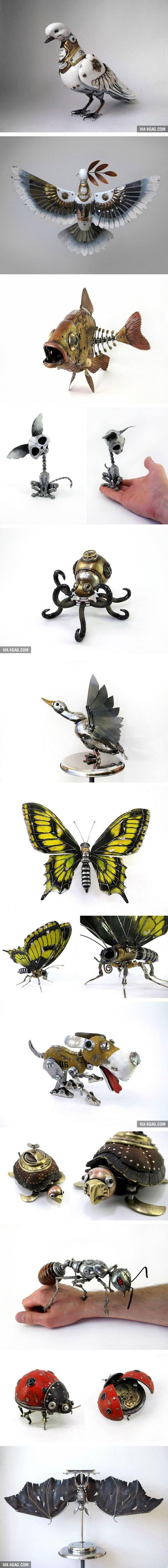 Artista ruso crea animales de partes viejas de carros, relojes y electrónicos.