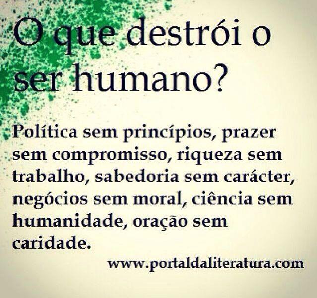 Destruir ser humano Política princípios Prazer compromisso Riqueza trabalho Sabedoria Caráter Negócios moral Ciência humanidade Oração caridade