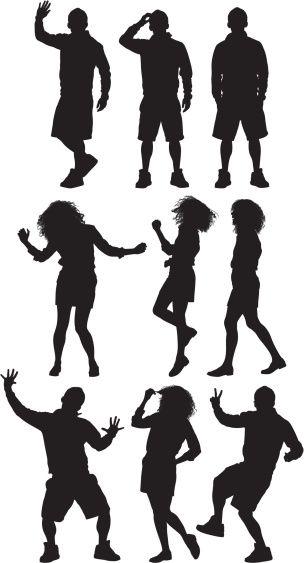 Vectores libres de derechos: Multiple image of people dancing and…