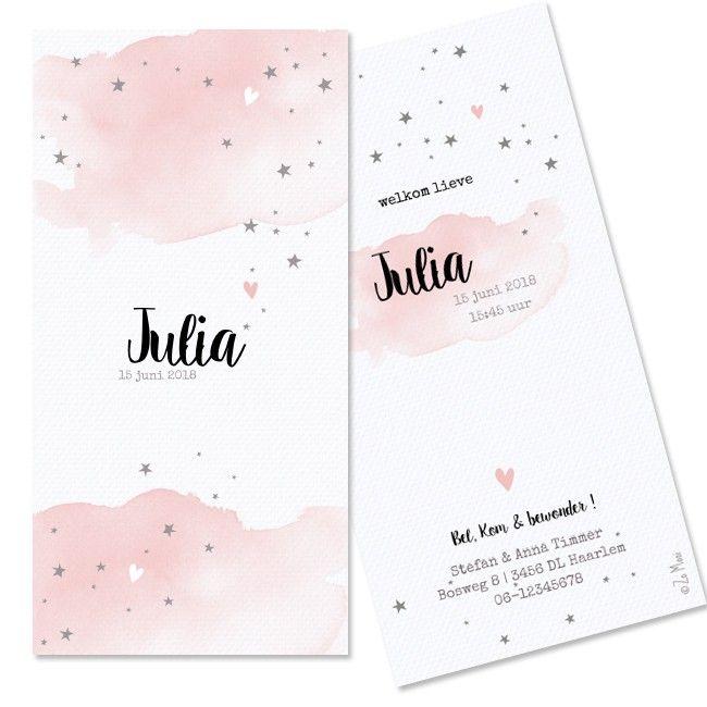 Geboortekaartje met waterverf voor meisje. - lief - pastel - waterverf - origineel - - ster - hart - hip - illustratie - birth announcement - roze