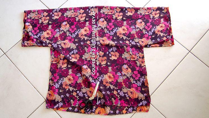 Réalisez à partir d'un tutoriel très simple comment faire un kimono à fleurs !