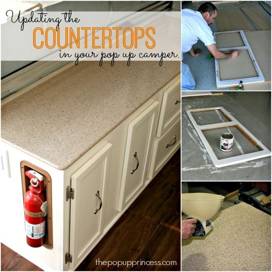 Pop Up Camper Remodel: Replacing the Countertops.  Give your camper a face lift by updating the cabinets and countertops.