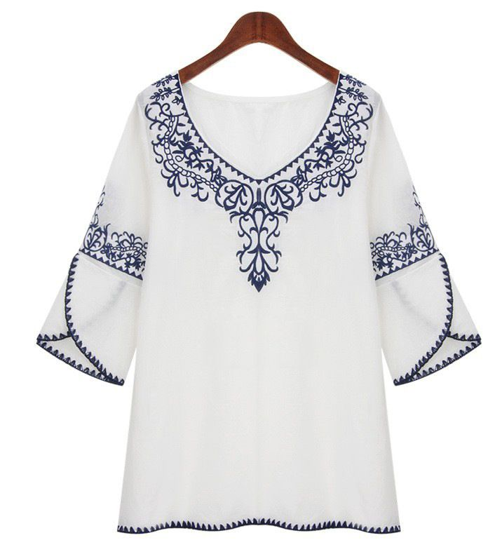 "Here's a cute idea--overlapping lower sleeves with embroidered ""armbands"""
