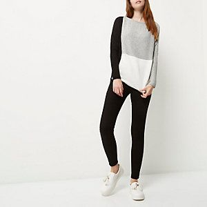 Grey colour block batwing top