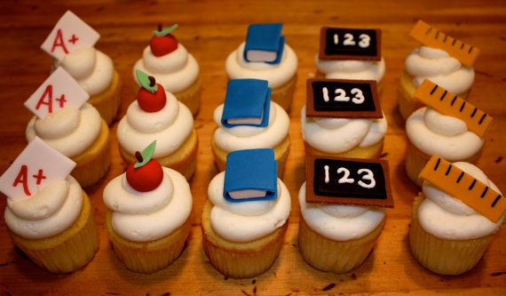 Custom 'SCHOOL DAYS' Fondant Toppers for cupcakes, cookies, or cake - 1 DOZEN $17.95 #etsy #fondant #school