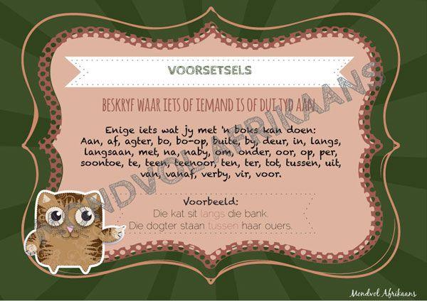 Digitale plakkate oor Voorsetsels, beskikbaar op http://teachingresources.co.za/vendors/mondvol-afrikaans/