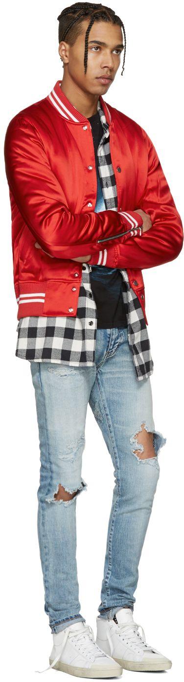 Amiri: Red Satin Baseball Bomber Jacket   SSENSE
