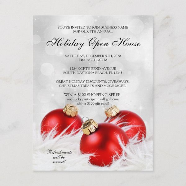 Elegant Business Holiday Open House invitation in 2018 Christmas