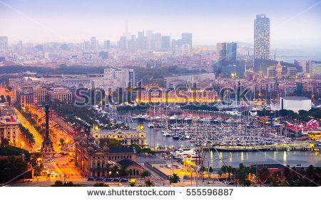 view to Barcelona and Port Vell in summer evening.  Spain