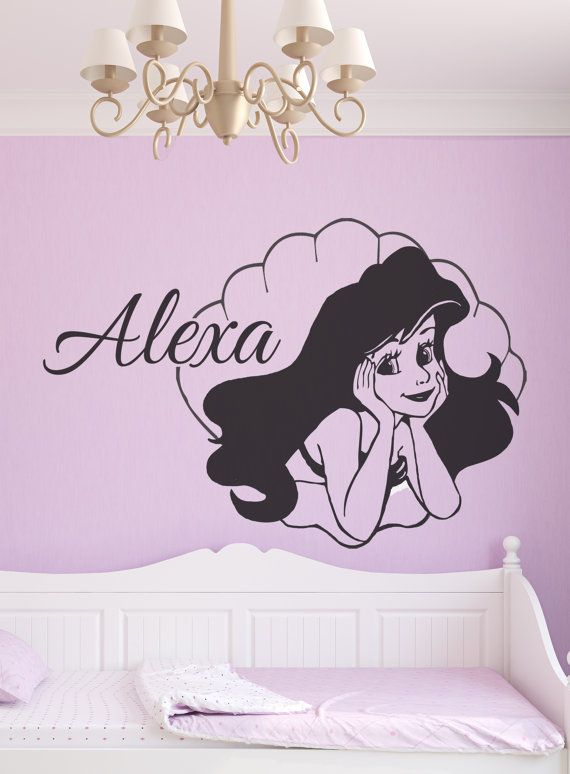 ARIEL Wall Decal / PERSONALISED girls little mermaid disney princess sticker  on Etsy, $24.49