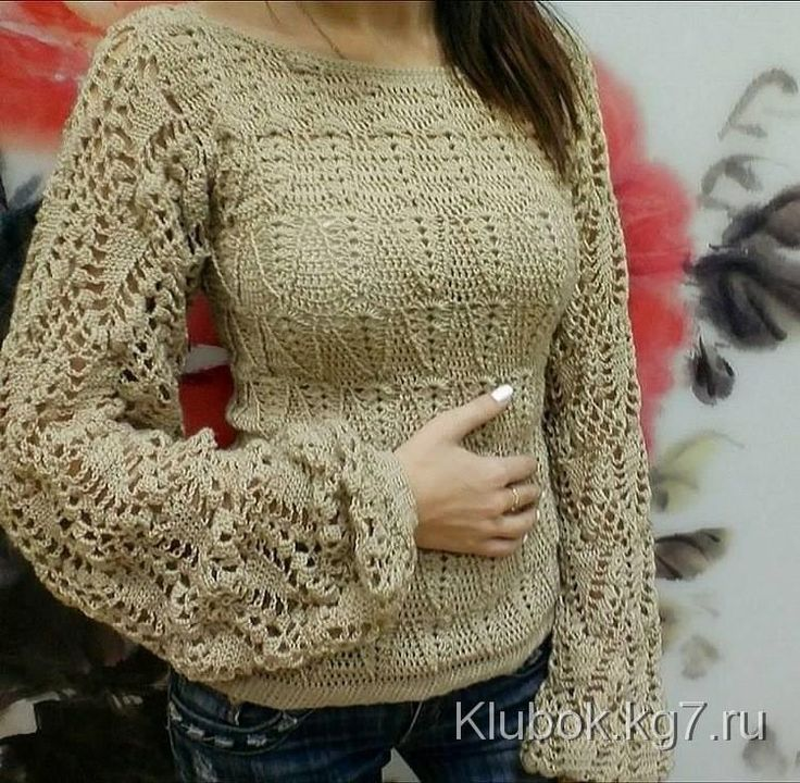 Ажурный пуловер крючком. Только узоры! | Клубок