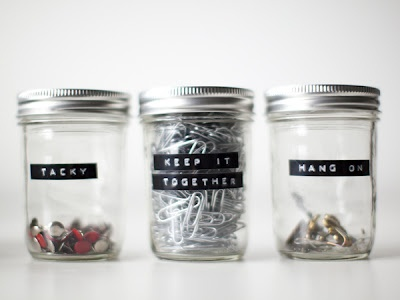organizing jars... how cute are the labels