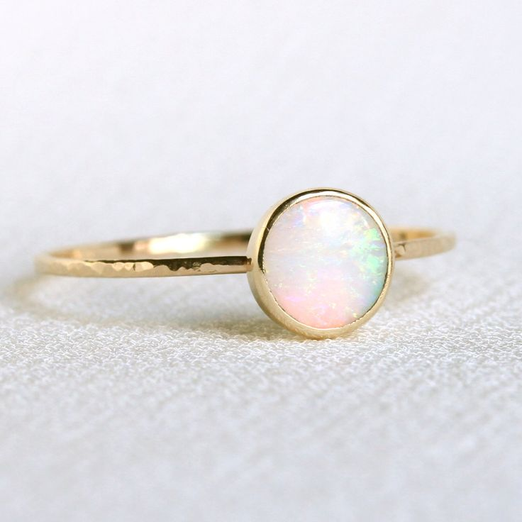 Natural AAA Opal Ring Solid 14k Gold Simple Stack Ring with a Genuine Fiery