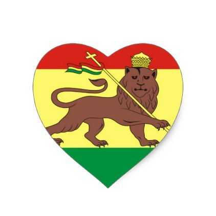 Old Ethiopian Flag with Lion of Judah Heart Sticker - sticker stickers custom unique cool diy