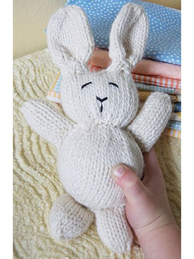 Free Knit Pattern Download -- This Knitted Bunny Rabbit, designed by Susan B. Anderson, is featured in episode 1, season 1 of Knit and Crochet Now! TV. Learn more here: https://www.anniescatalog.com/knitandcrochetnow/patterns/detail.html?pattern_id=133&series=2