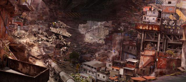 ConheçaNivanh Chanthara, um ilustrador da Eidos Montreal, do mesmo estúdio de Deus Ex e Thief, que faz trabalhos incríveis trazendo cenários futuristas de soldados e robôs.