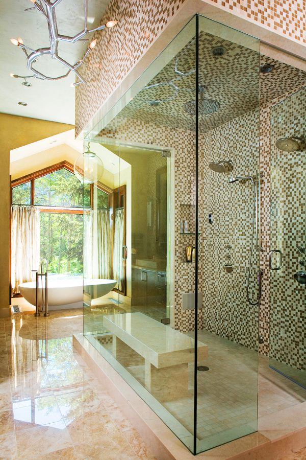 Double shower heads And rainfall shower head! WOW!!!