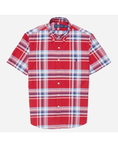 f519461d0 Polo Ralph Lauren - Red Short Sleeve Oxford Bd Check Shirt for Men - Lyst