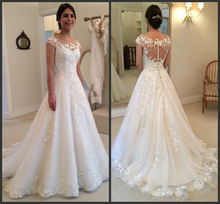2016 Lace Applique Beach Wedding Dresses Capped Sleeves Buttons Back Elegant Bridal Gowns