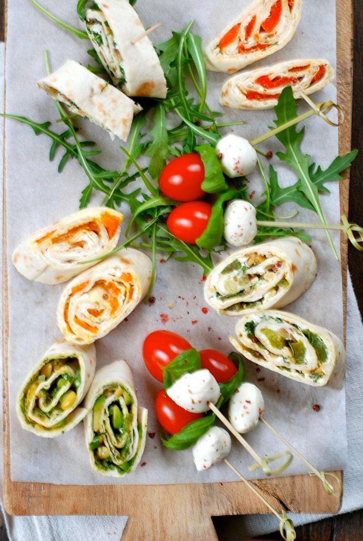 Tortilla rolls and caprese skewers