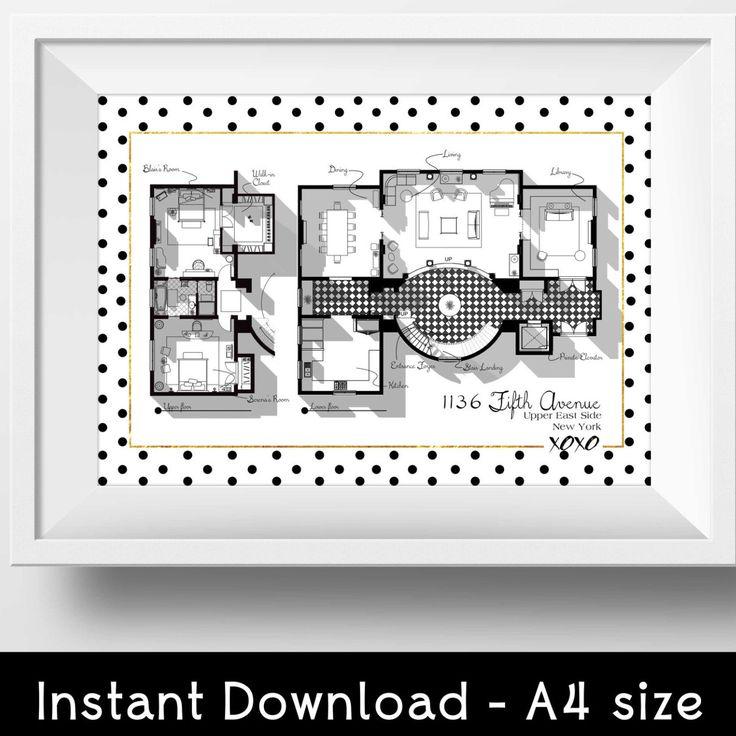 INSTANT DOWNLOAD - Gift Idea for Gossip Girl Fan - Gossip Girl Apartment Floor Plan - TV Show Floor Plan- Blair Waldorf Apartment Plan