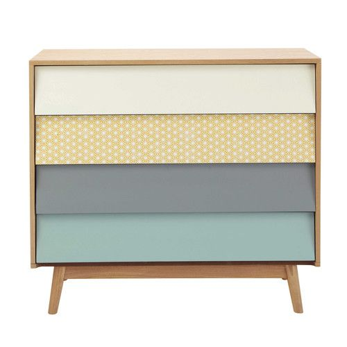 Wooden vintage chest of drawers, multicoloured W 90cm - Fjord
