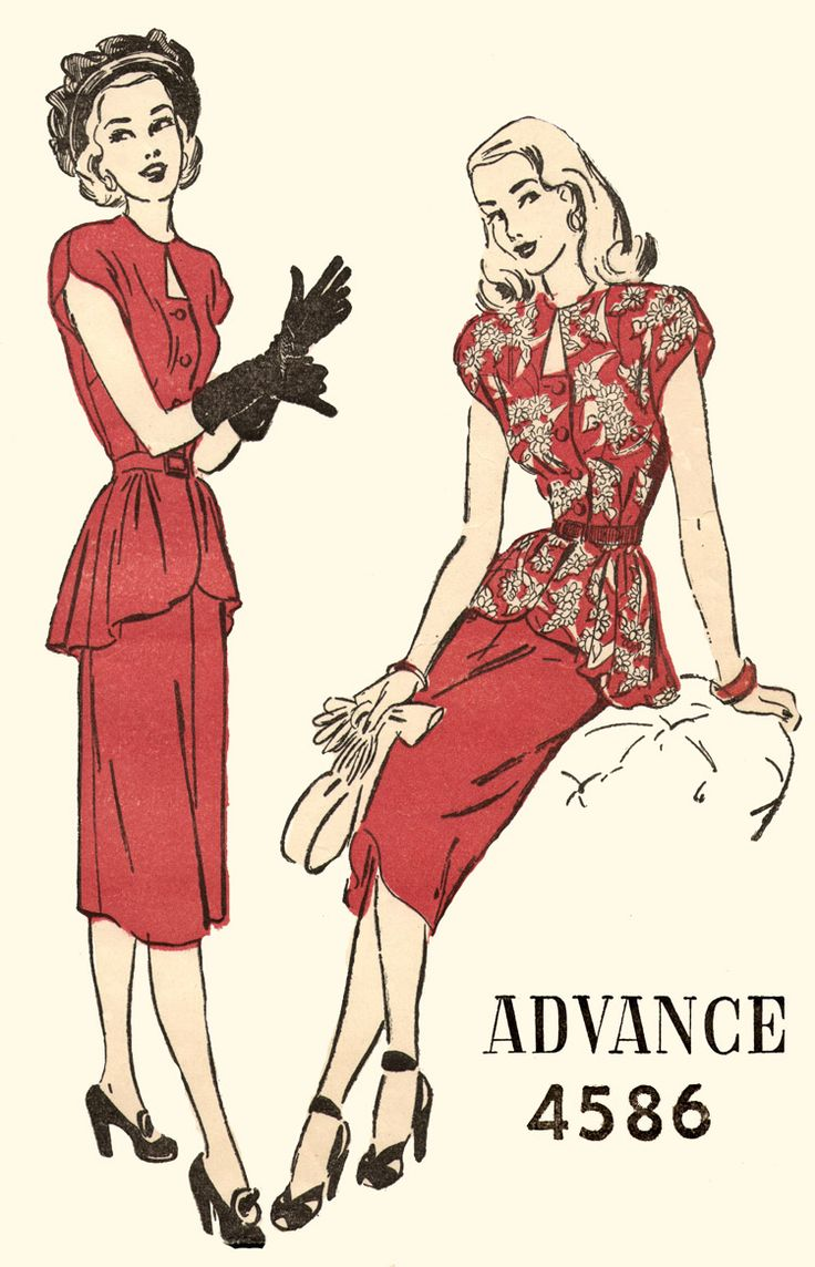 1940s; Advance 4586; Glamorous 2-piece Dress has a triangular keyhole neckline. The cap sleeves curve around the arm repeating the curve of the front gathered peplum.  Narrow 4-gore skirt completes the silhouette.