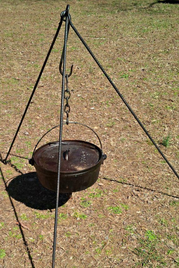 Campfire Tripod Stand With Dutch Oven Lid Remover Fire Pit Grill Dutch Oven Tripod