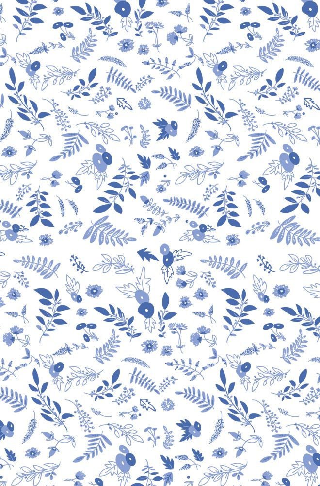 Blue white botanical ferns leaves floral iphone wallpaper phone background lock screen