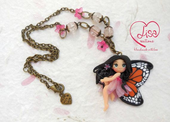for sale on my Etsy shop https://www.etsy.com/it/listing/257573688/collana-con-fatina-rosa