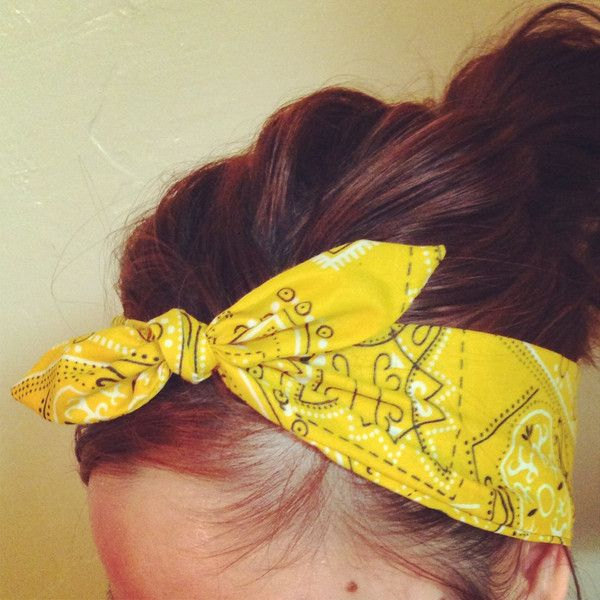 Yellow Bandana Dolly Bow Headband NO WIRE ($12) ❤ liked on Polyvore featuring accessories, hair accessories, hair, headbands, head wrap headband, hair band headband, bow hairband, bandanna headband and head wrap hair accessories