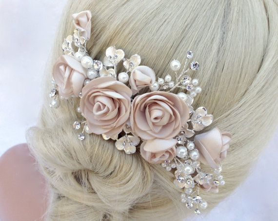 Pearl And Crystal Bridal Hair Comb, Wedding Hair Comb, Blush Champagne Flower…