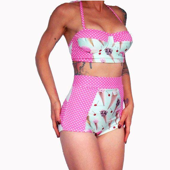 High Waisted Underwire Bustier Bikini Retro Bikini Ice Cream And Polka Dot  Plus Size Swimsuit  McLaineO  XS-XXL Full Cover Modest