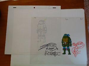 a kevin eastman peter laird signed cell leonardo tmnt tortugas ninja turtles