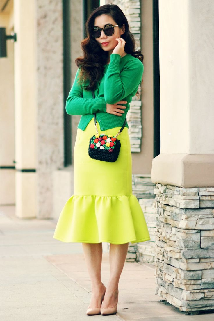 Lime and Grass: Pencil Skirt with Peplum Hem and Cropped Cardigan