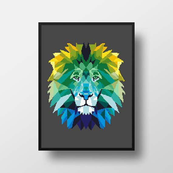 Grille point de croix Lion géométrique