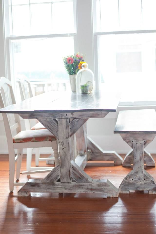 White Distressed Trestle With Gray Classic Top Floydrustic Rustic Farm TableFarm