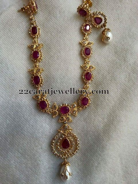 Uncut Diamond Sets with Earrings - Jewellery Designs