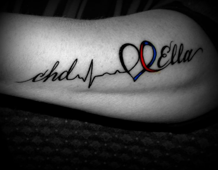 My Tribute Tattoo to my Heart Warrior Ella, for my 40th B-day.. Love it, on the side of my arm!