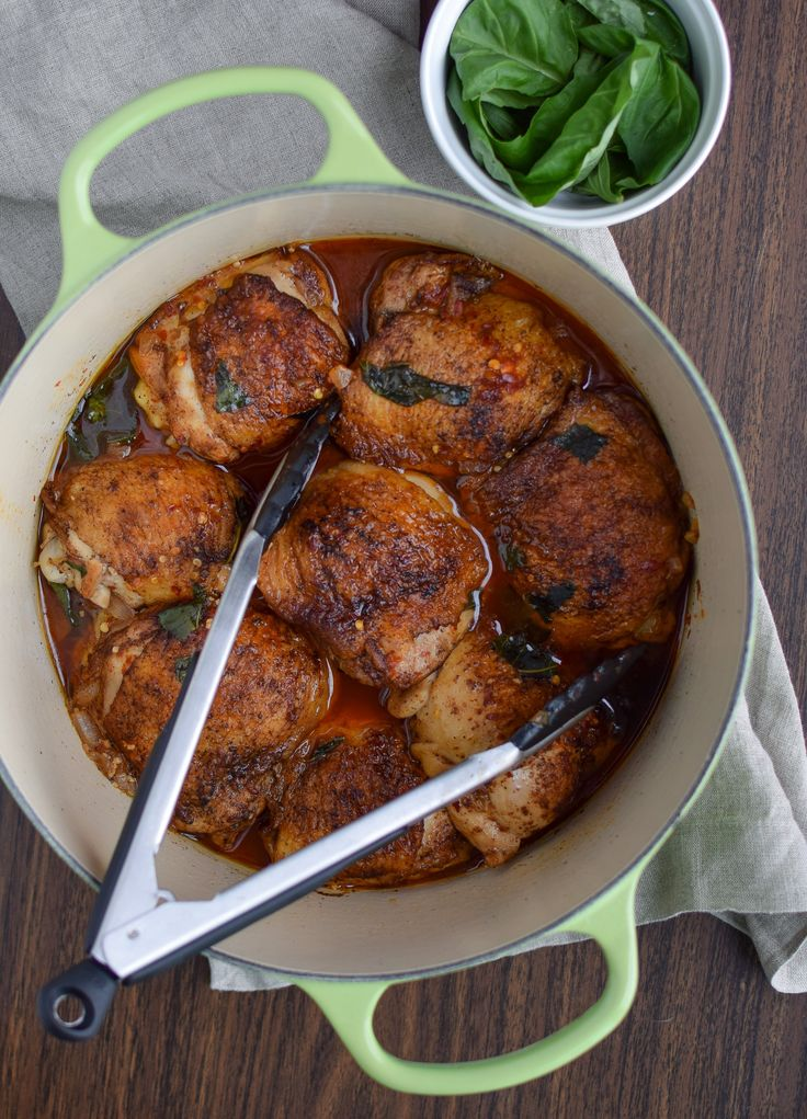 Hot Basil Coconut Braised Chicken Thighs | Recipe ...