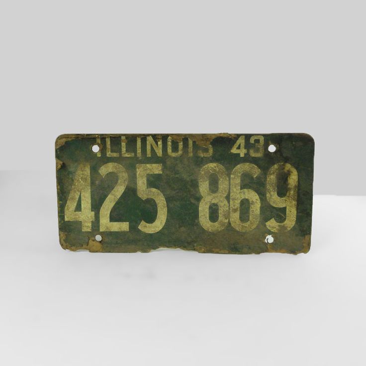 1943 Authentic Illinois Fiberboard Car License Plate - FOR SALE! Authentic vintage 1943 Illinois old fiberboard automobile car license plate. 11L x 5-1/4W. Wall art sign for man cave or nice display item. Buy Now!