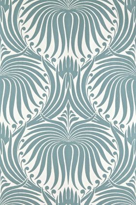 Farrow and Ball Lotus wallpaper . . . stunningly delicate colour way in a strong Art Nouveau flavoured patter.