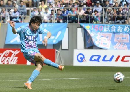 鳥栖(Sagan Tosu)―柏(Kashiwa Reysol) 前半、決勝ゴールを決める鳥栖・早坂(Ryota Hayasaka)=ベアスタ Jleague