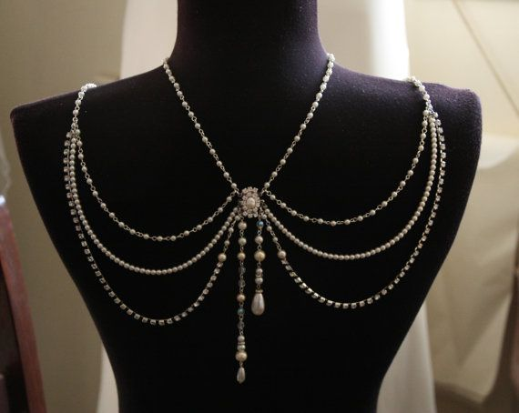 Necklace For The Shoulders,1920,Pearls Rhinestone,Silver,Bridal Wedding Jewelry,Backdrop Necklace,Victorian,Efrat Davidsohn,Gown Necklace