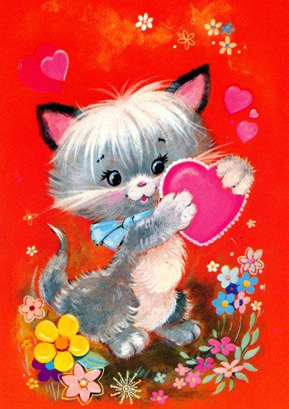 Vintage valentine card 70s