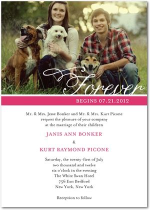 Normally not a fan of the Photo invitations, but this is really pretty and classy. Great use of Engagement photos