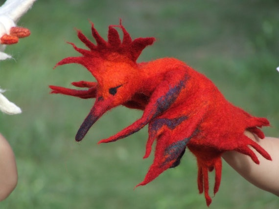 felted firebird puppet. Oh my. This Etsy shop is amazing. LOVE the felted birds.