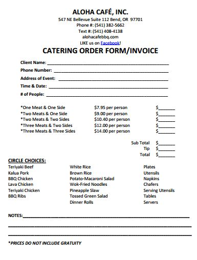 Sample Catering Invoice. Food Catering 6+ Catering Receipt